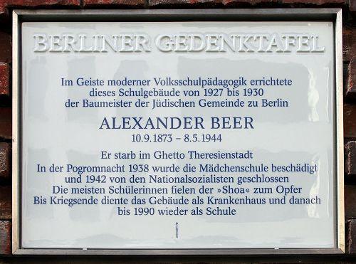 Plaque Alexander Beer