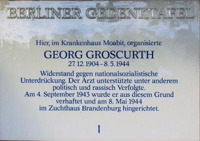 Plaquette Georg Groscurth