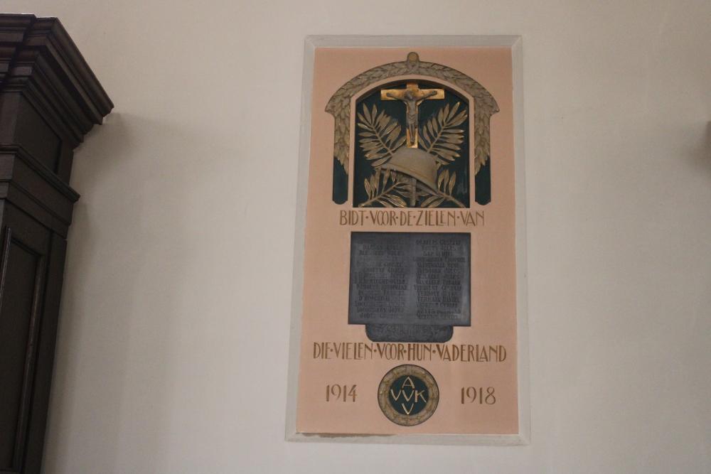 Gedenkplaat Eerste Wereldoorlog Wingene
