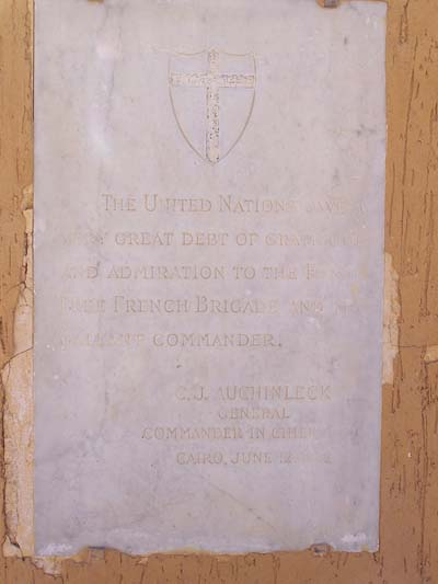 Plaque Of Gratitude French Free Forces Tobruk