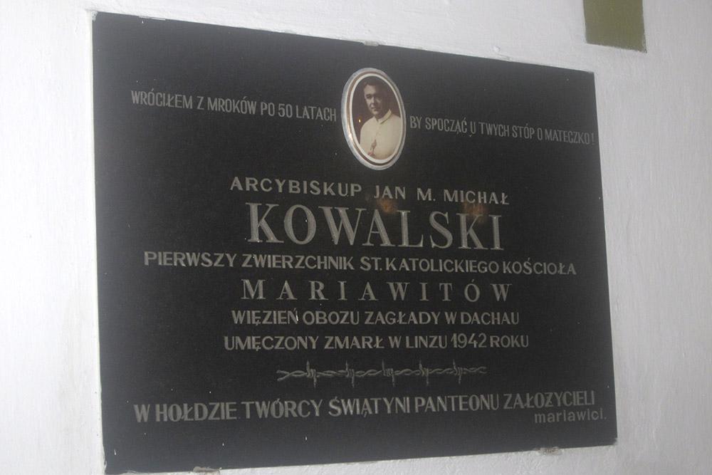 Plaque Arch Bishop Jan Maria Michal Kowalski