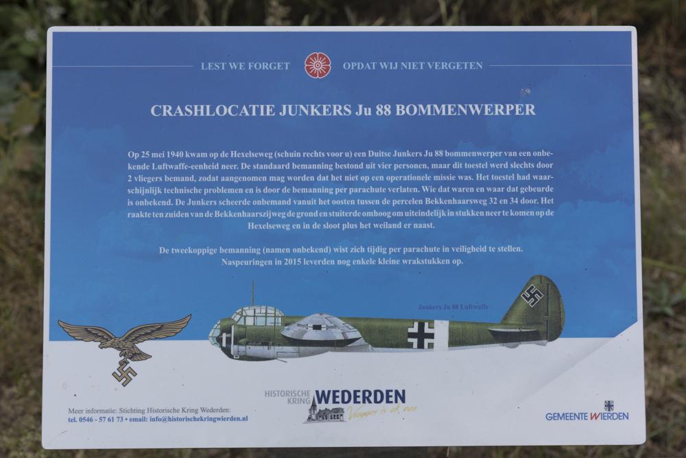 Memorial Sign Crash location Junkers 88