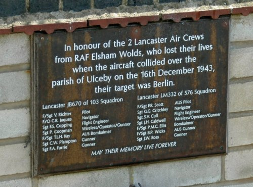 Plaque Crashed Lancaster Bombers