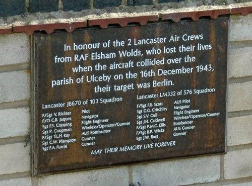 Plaquette Neergestorte Lancaster Bommenwerpers