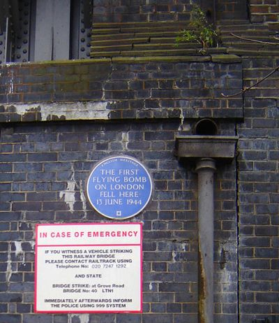 Plaque First V-1 Bomb on London