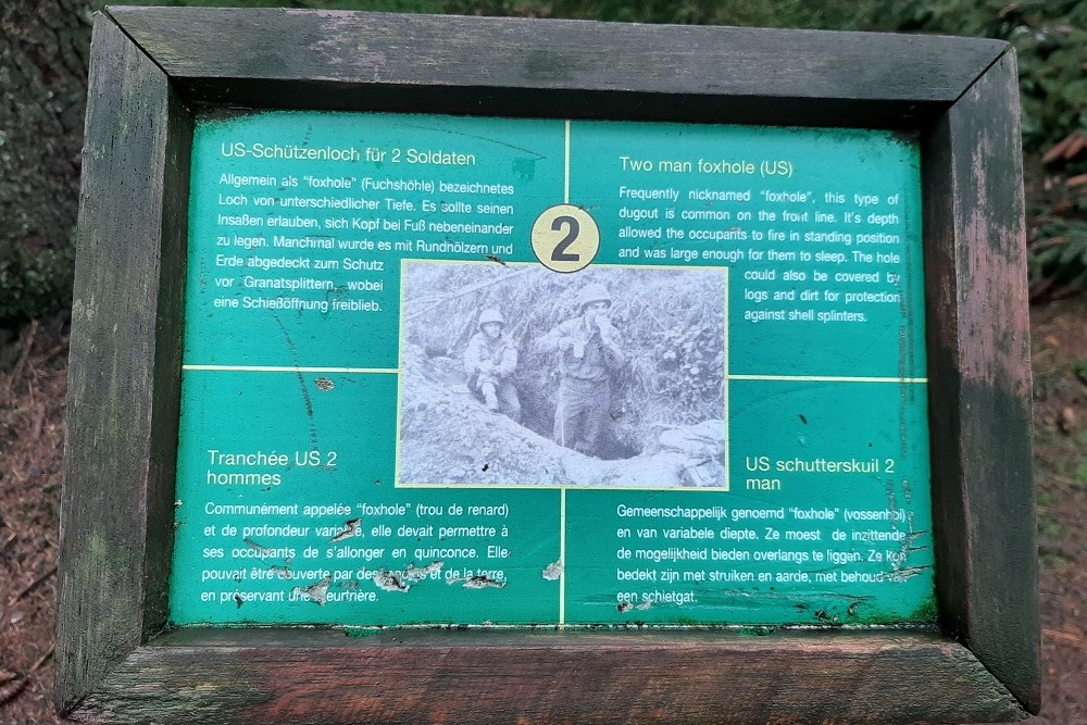 Memorial Site Hasselpath Position 2. Two man foxhole (US)