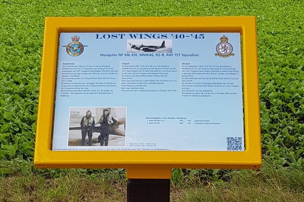 Memorial Sign Crash Location Havilland DH.98 Mosquito NF Mk XIX