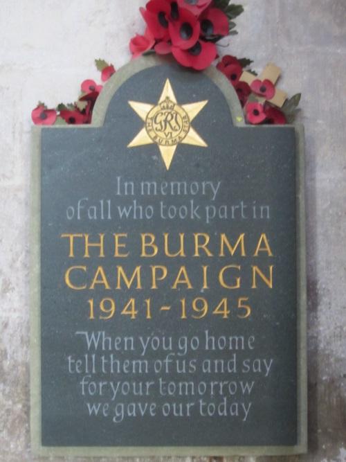 Plaquette Birma-campagne, Salisbury Cathedral