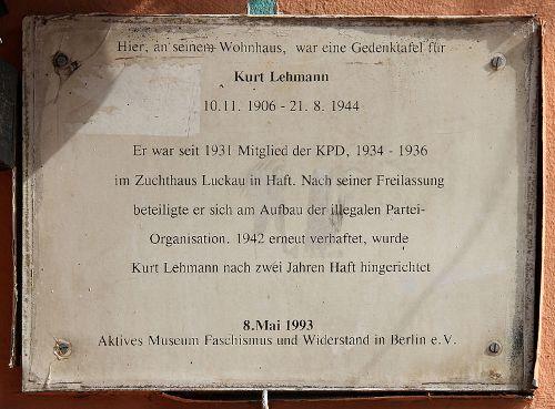 Plaque Kurt Lehmann