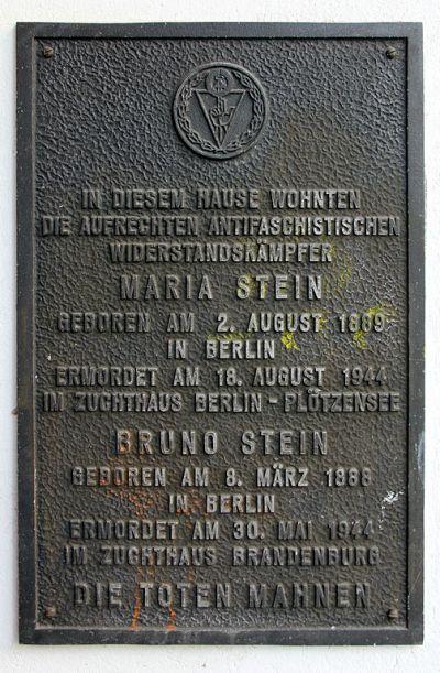 Plaque Bruno Stein and Maria Stein