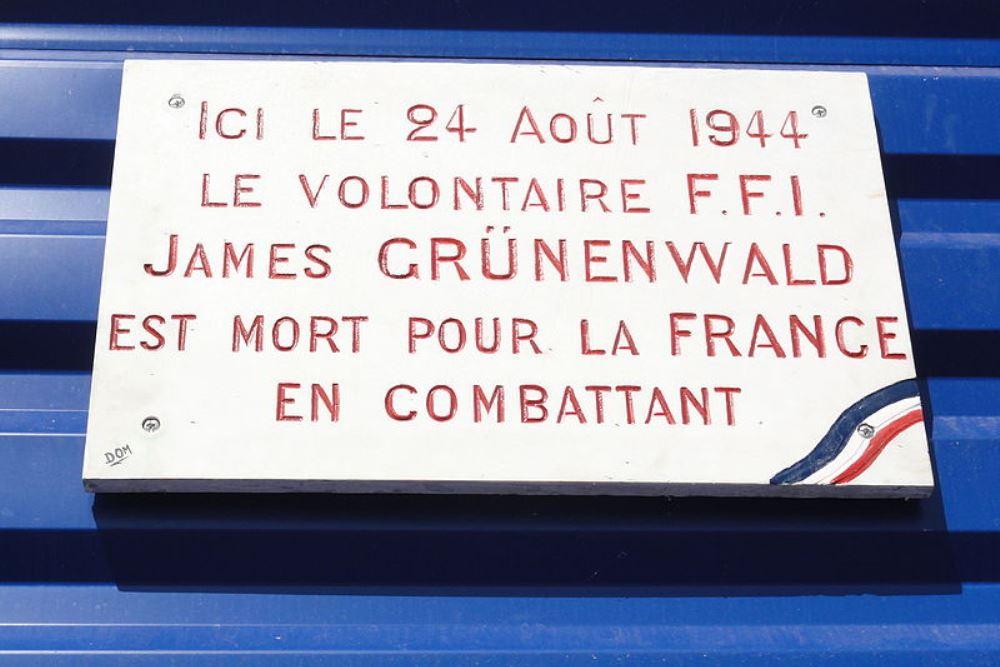 Plaque James Grünenwald