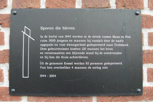 Monument 'Sporen die bleven' R.K. Kerk Kessel
