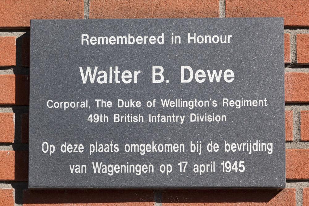 Plaquette Walter B. Dewe Wageningen