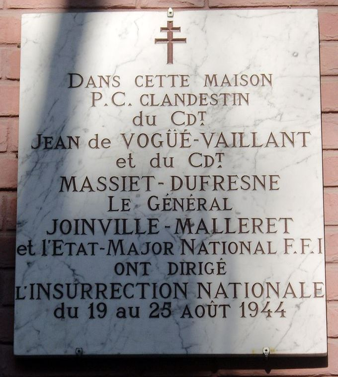 Plaquette Commandopost Avenue de La Bourdonnais