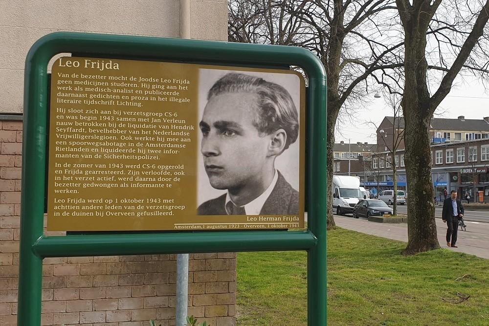 Herdenkingsborden Slotermeer Leo Frijdahof