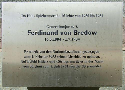 Plaquette Ferdinand von Bredow
