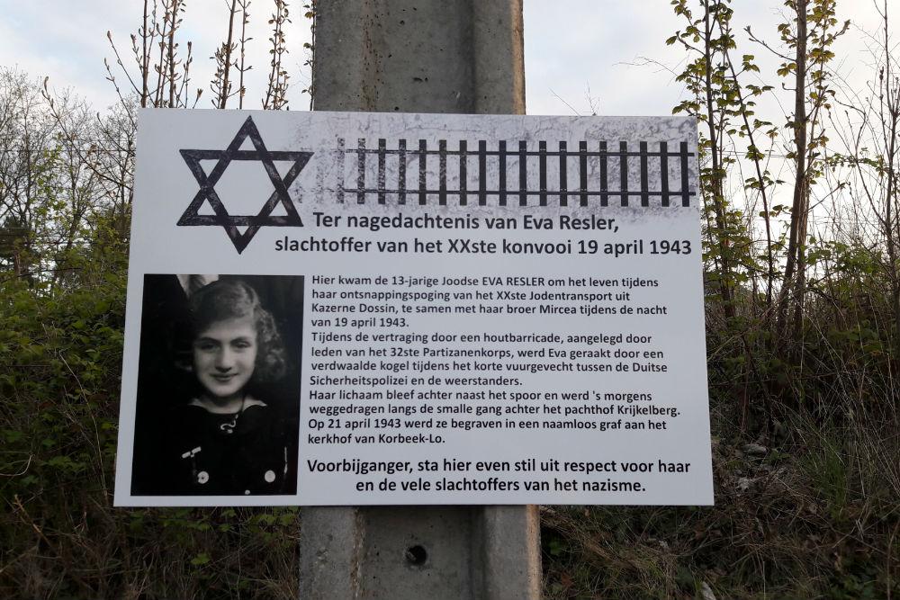 Memorial plaque XXth Jew Transport - Eva Resler