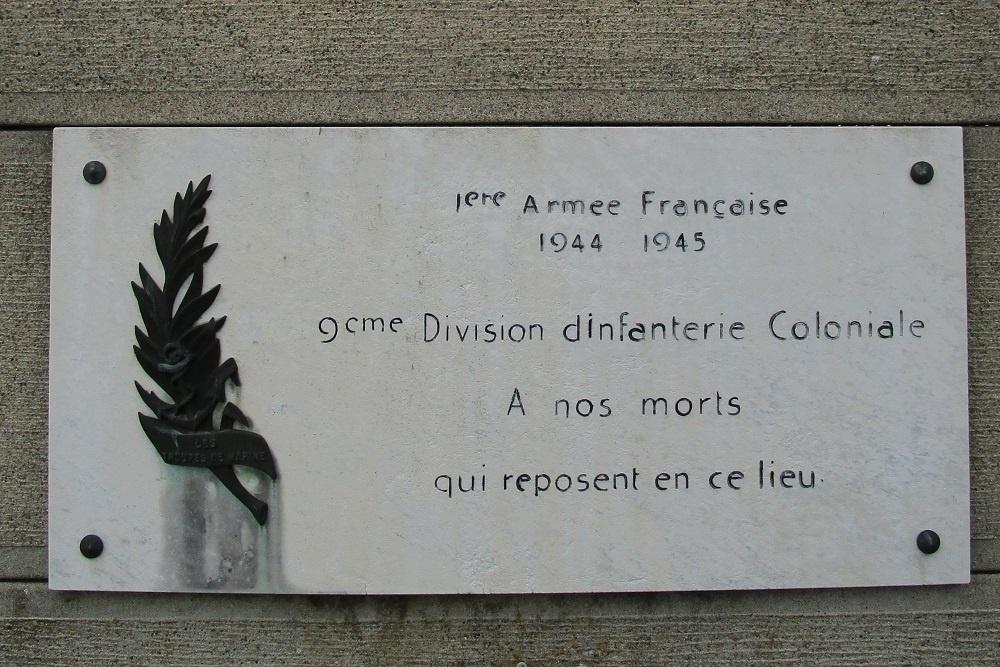 Herdenkingsplaquette van het eerste leger en van de 9e D.I.C.