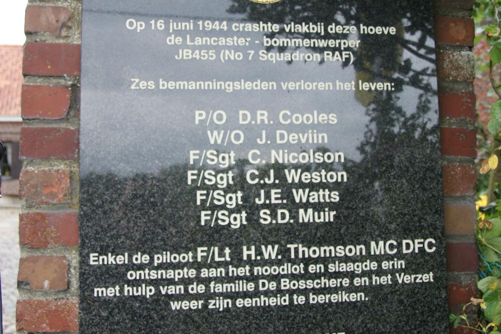 Plaque Lancaster MG-N JB455
