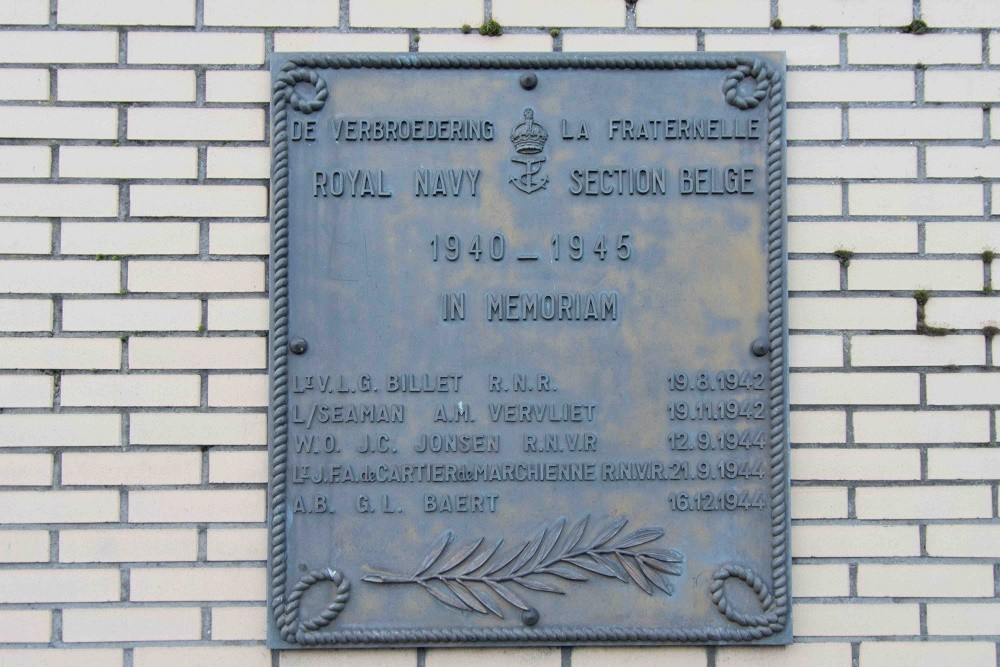 Plaque Fallen Belgian section Royal Navy