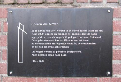 Plaque 'Tracks that Were' Roggel