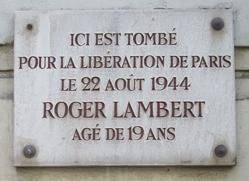 Plaque Roger Lambert