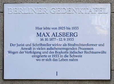 Plaquette Max Alsberg