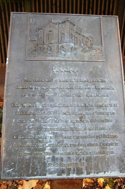 Plaque Synagogue Kassel