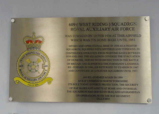 Plaquette 609 (West Riding) Squadron Royal Auxiliary Air Force