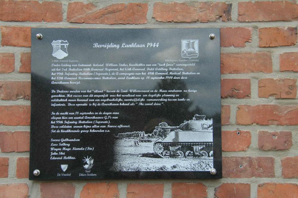 Plaquette Bevrijding Lanklaar 18 september 1944