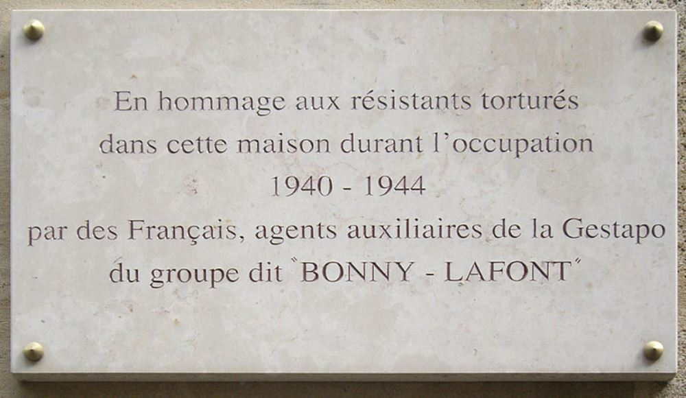 Plaque Tortured Resistance Fighters