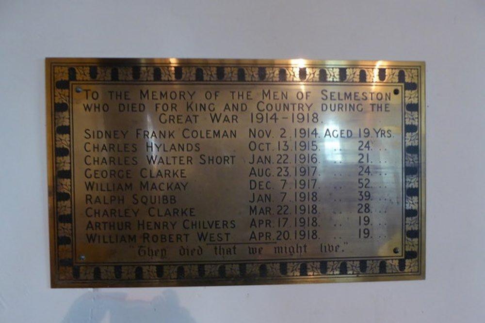 World War I Memorial Selmeston
