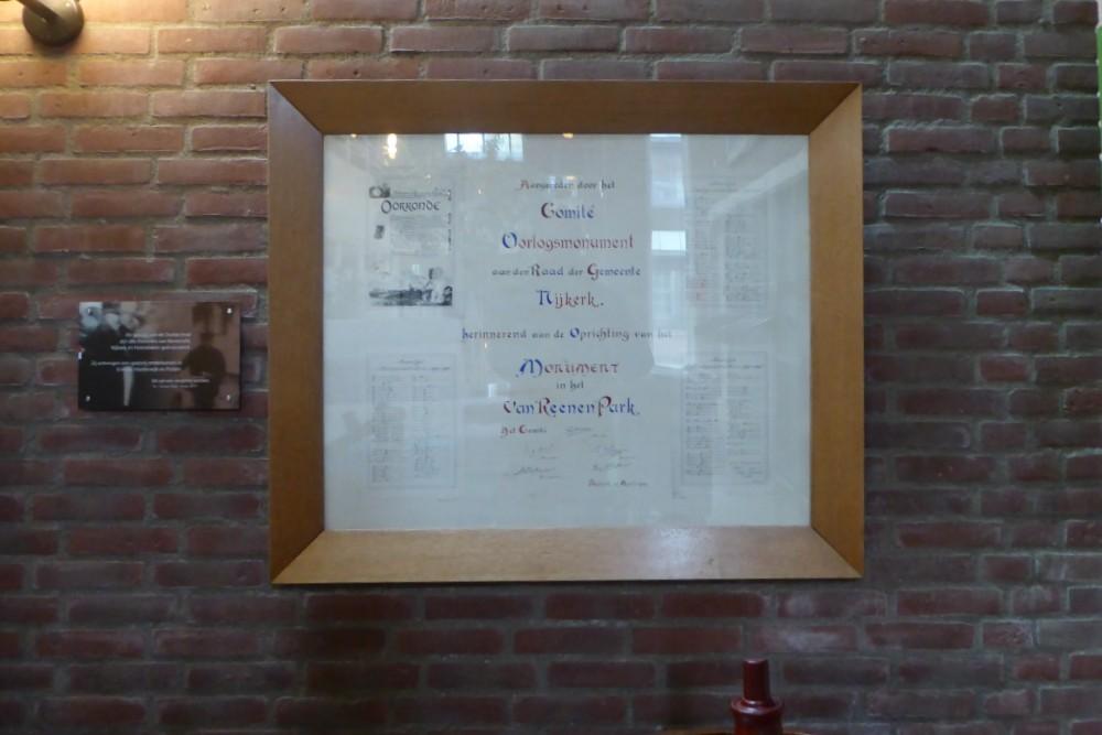 Naamlijst en Oorkonde Gemeentehuis Nijkerk
