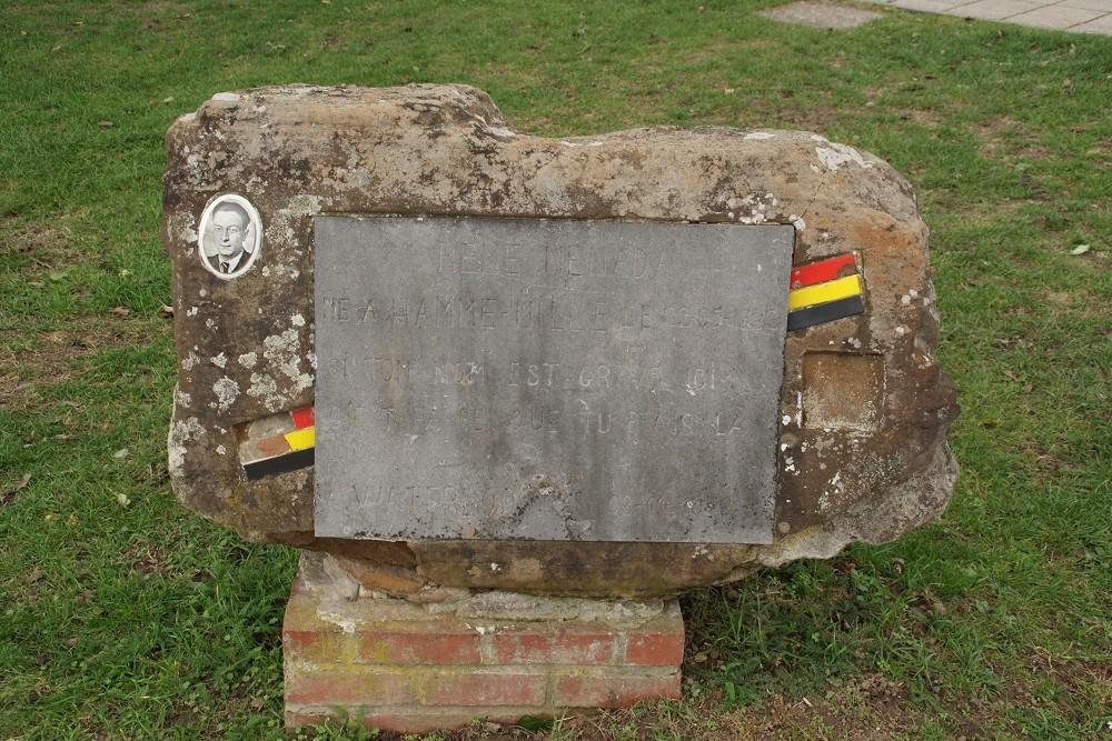 Gedenksteen René Ménade Hamme-Mille