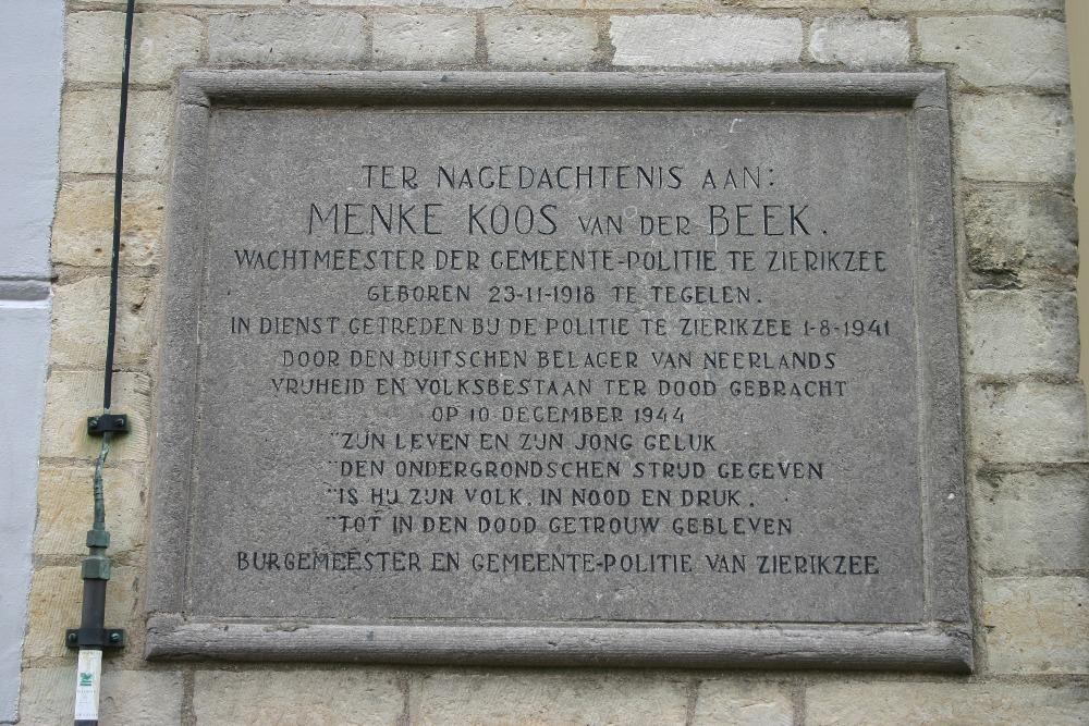 Plaquette Menke Koos van der Beek