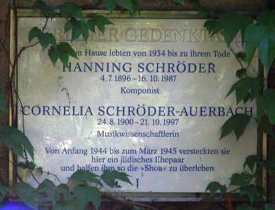 Plaque Hanning Schröder and Cornelia Schröder-Auerbach