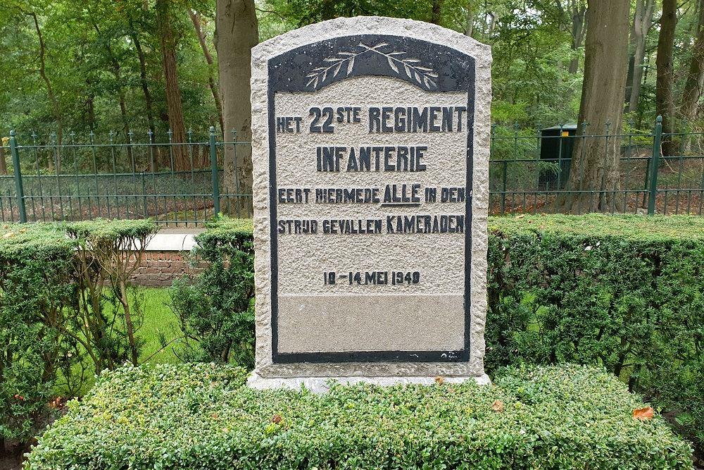 Monument 22e Regiment Infanterie Nederlandse Militair Ereveld Grebbeberg