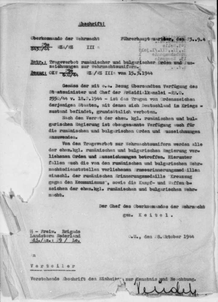 Draagverbod Roemeense en Bulgaarse onderscheidingen Duitse Wehrmacht