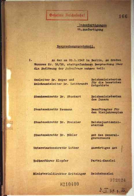 Notulen Wannseeconferentie (20-01-1942)