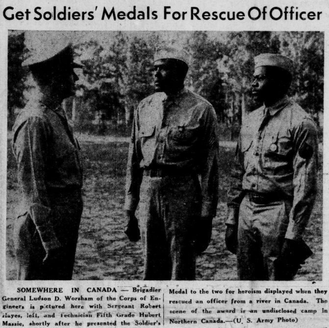 Robert Hayes en Hubert Massie, ontvangers van de Soldier's Medal
