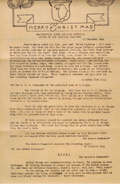 McAuliffe's Kerstboodschap aan de 101st Division (24-12-1944)
