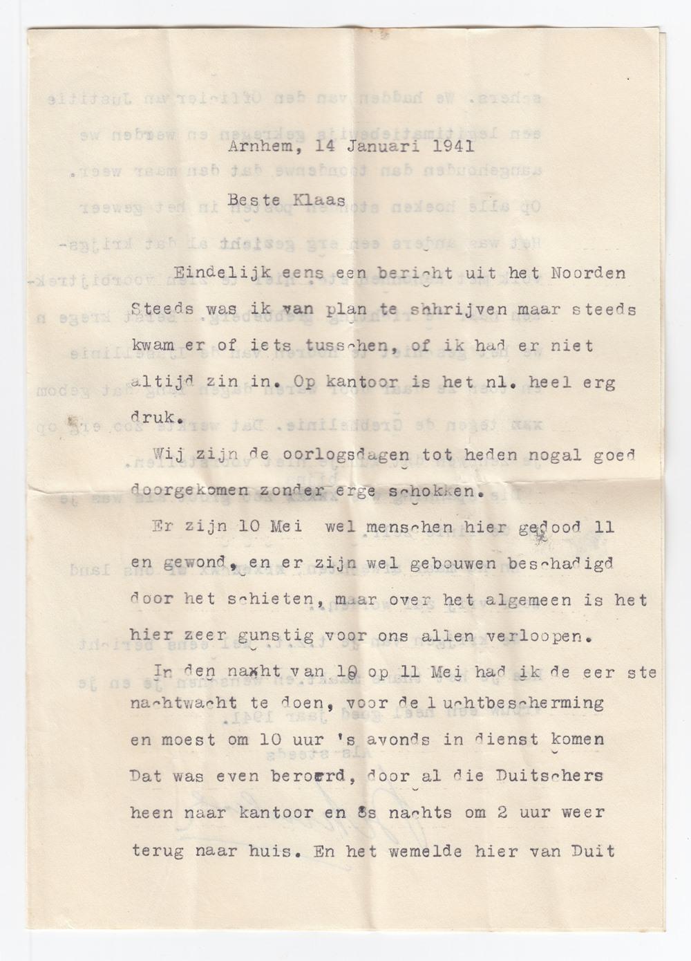 Brief aan Klaas Bezema over de Duitse invasie (14-01-1941)
