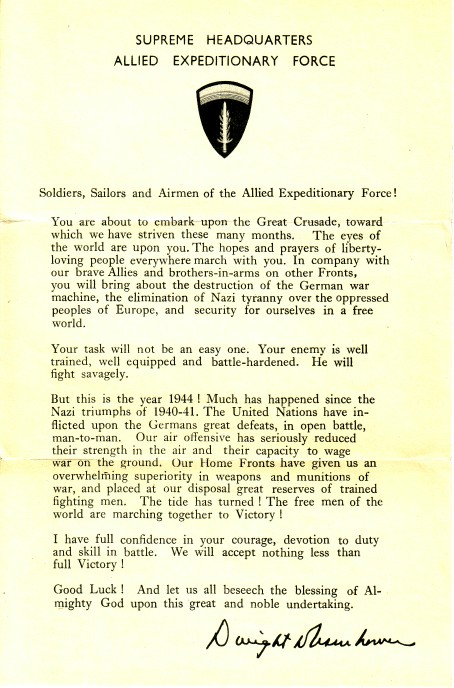 Eisenhowers Order of the Day (06-06-1944)