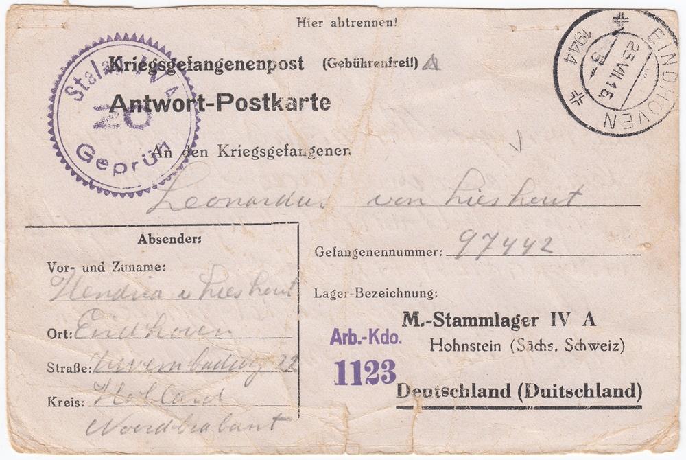 Bernard van Lieshout, krijgsgevangenenpost 1943-1945